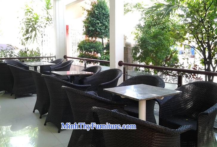 Bàn ghế mây nhựa của Nội thất Minh Thy cung cấp cho Cafe Linh Lan - Phan Thiết