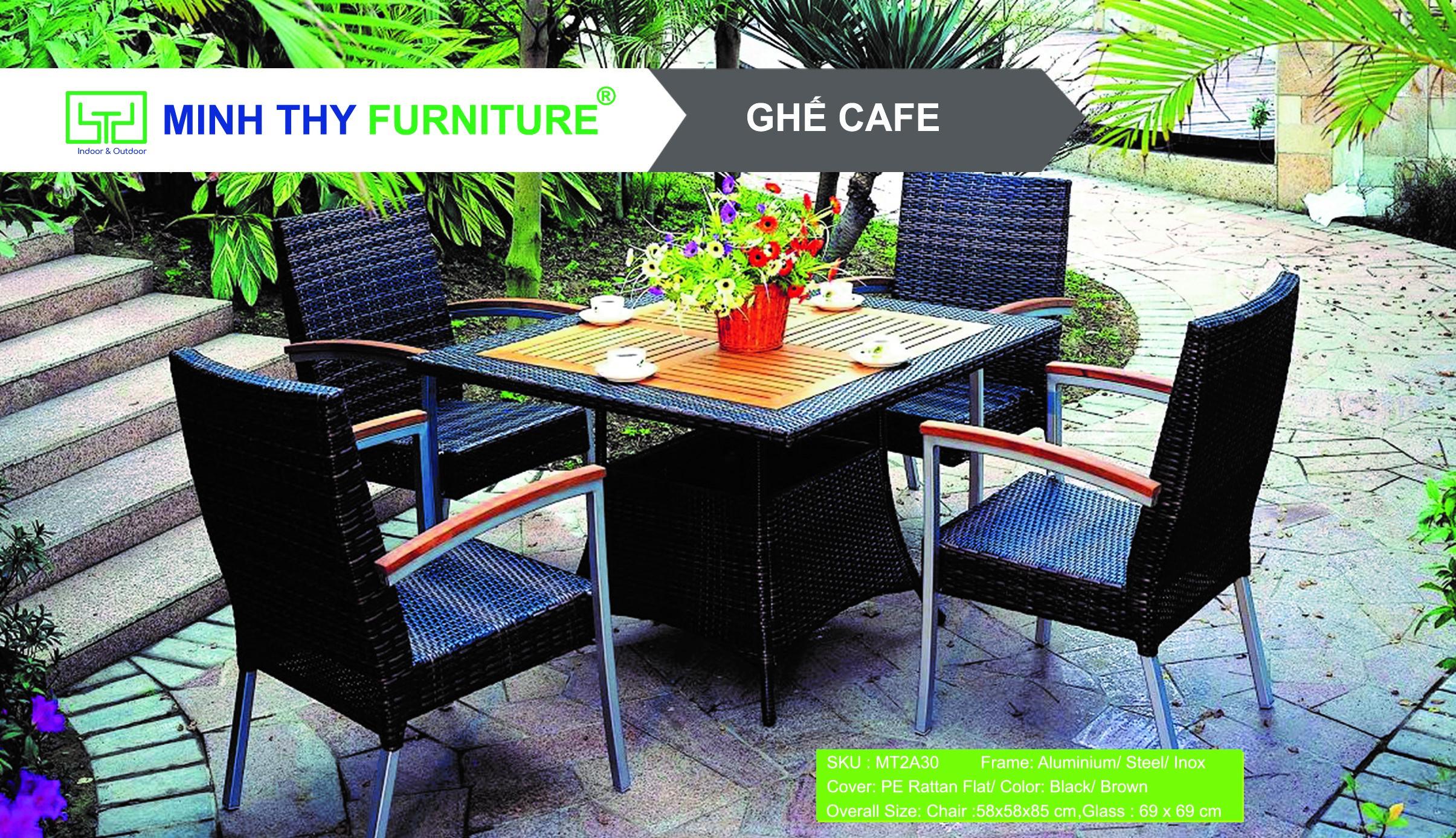 Bàn ghế cafe nhựa giả mây MT2A30 của Minh Thy Furniture