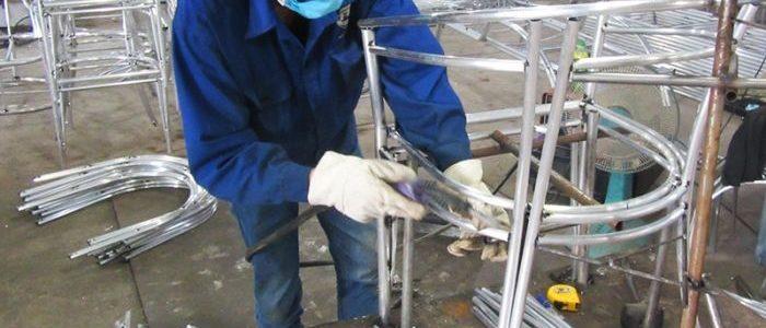 Sản xuất khung nhôm bàn ghế cafe nhựa giả mây 2A14 tại Minh Thy Furniture