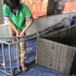 Sản xuất giường nằm hồ bơi MT414 tại xưởng đan mẫu Minh Thy