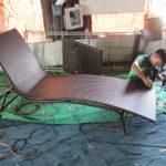 Giường tắm nắng nhựa giả mây MT4A24 tại xưởng đan Minh Thy Furniture