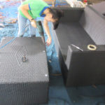 Đan bàn ghế sofa mây nhựa tại xưởng sản xuất Minh Thy Furniture