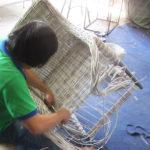 Ghế mây nhựa sân vườn MT2A69 đan tại xưởng sản xuất Minh Thy Furniture