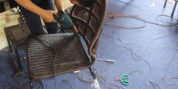 Đan ghế mây nhựa mẫu của Khách hàng tại Xưởng Nội Thất Minh Thy