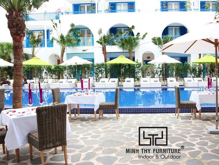 Bàn ghế nhà ăn mây nhựa Minh Thy Furniture cung cấp cho Risemount Resort