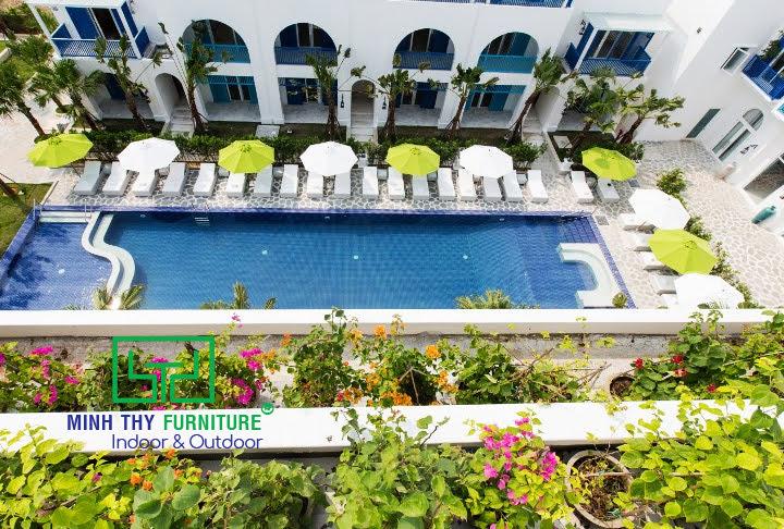 Ghế hồ bơi mây nhựa Minh Thy Furniture cung cấp cho Risemount Resort