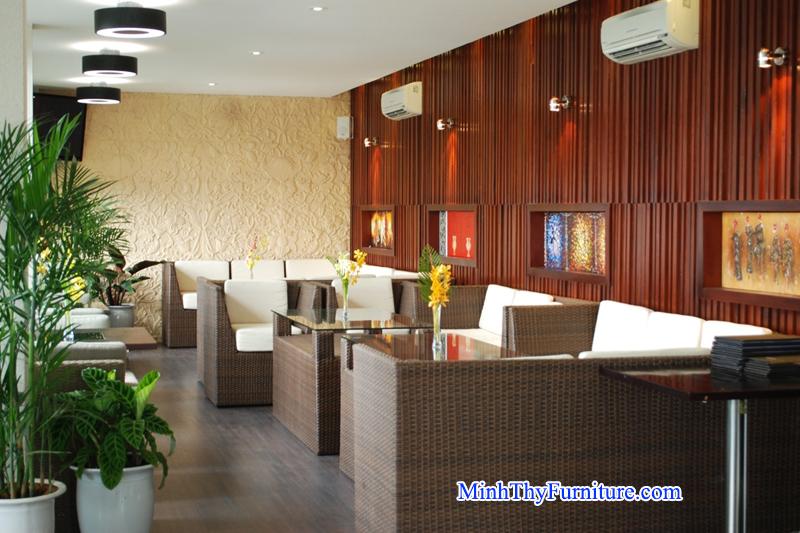 Bàn ghế mây cafe Minh Thy Furniture cung cấp cho Nhà hàng Sun Ocean - Đà Nẵng