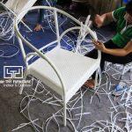 Chi tiết cách đan ghế cafe mây nhựa với kiểu đan hoa mai