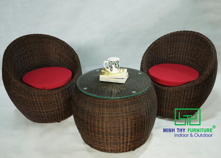 Bàn ghế cafe nhựa giả mây MT2A111