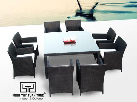 Bộ bàn ghế ăn mây nhựa MT235