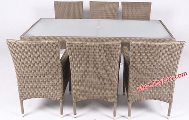 Bộ bàn ghế nhà ăn mây nhựa MT206