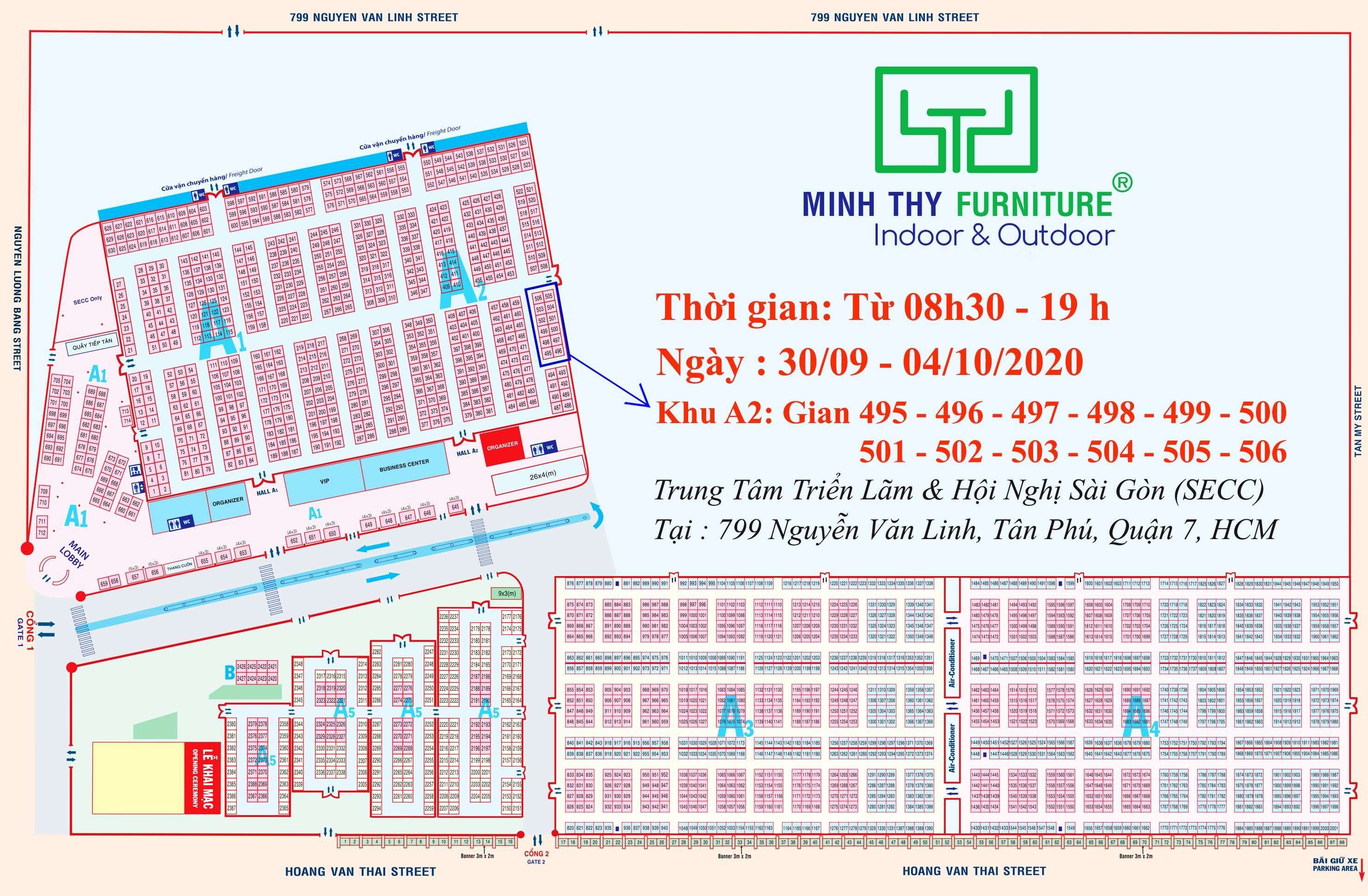 Sơ đồ Gian hàng Minh Thy Furniture tại Vietbuild T9-2020